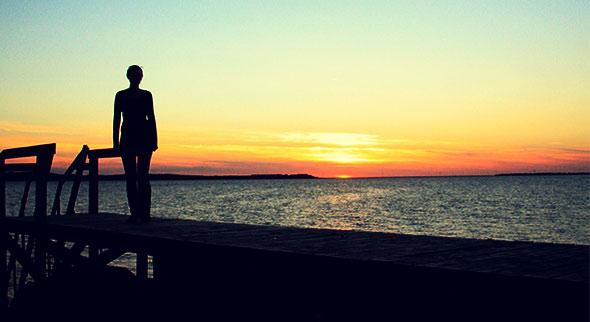 silhouette i solnedgang